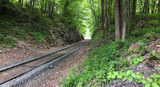 railroad tracks at  trail head