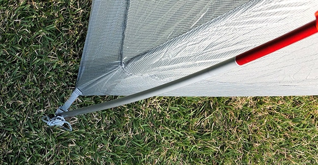 Grey Color Coded Front Pole on Copper Spur Tent