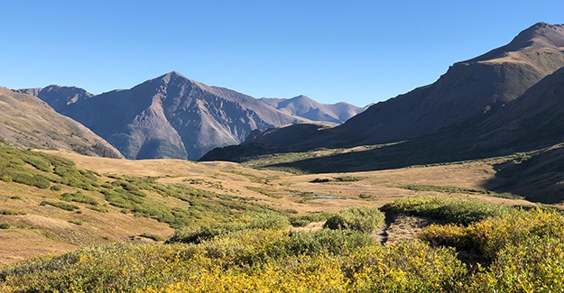 Looking Down Towards Pass on Colorado Trail Near Section 24