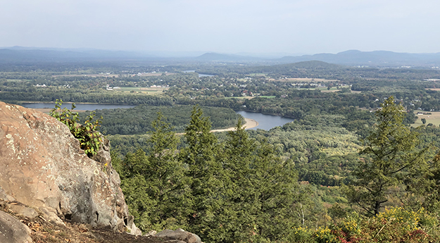 View of CT River from Norwottuck Mountain in Mass on the New England TRail