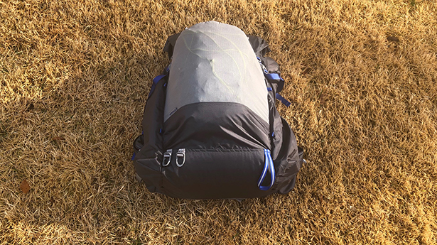 Ice Ax loops and bottom straps on Gossamer Gear Mariposa 60 backpack.