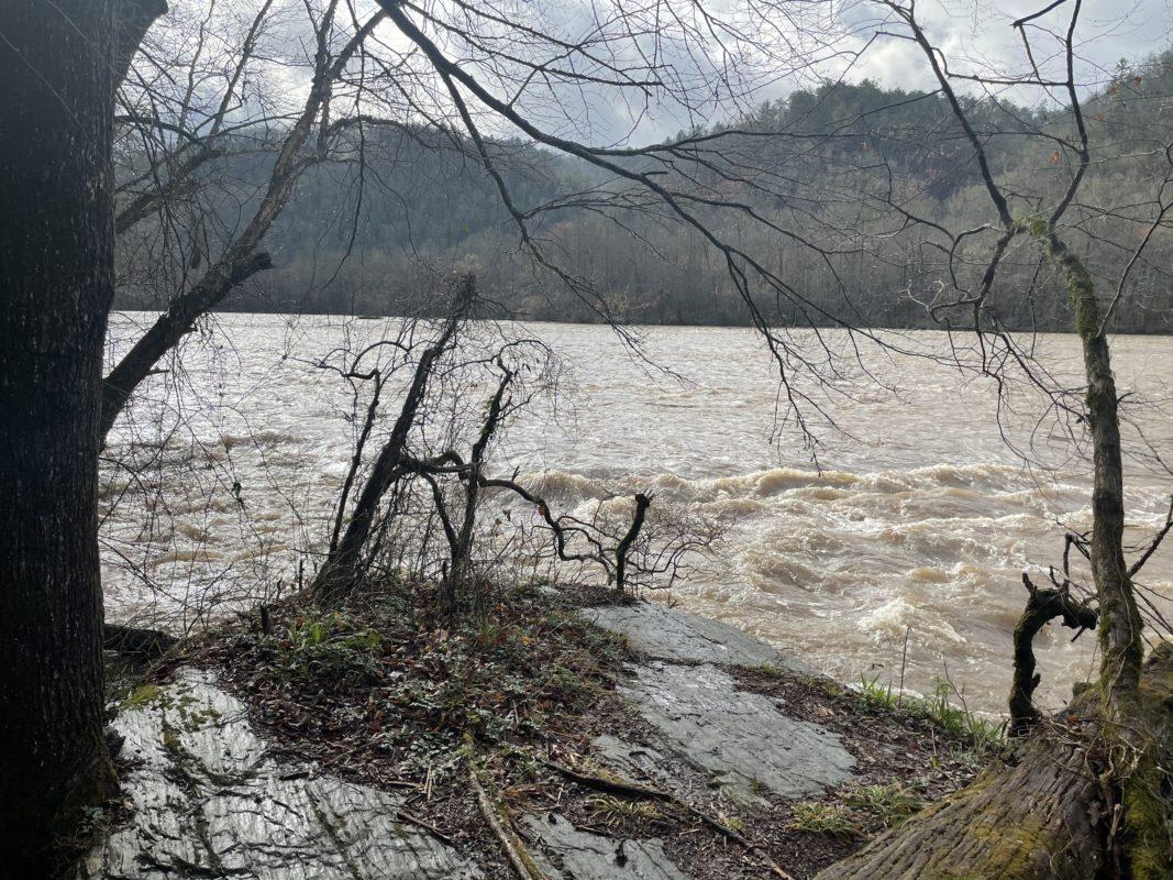 Rain swollen Hiawassee River