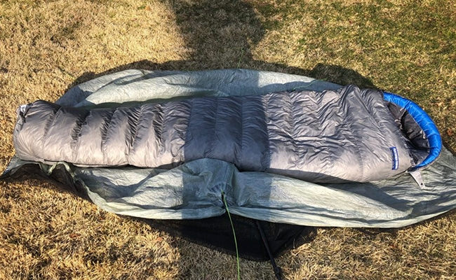 feathered friends sleeping bag in benton mackaye gear list