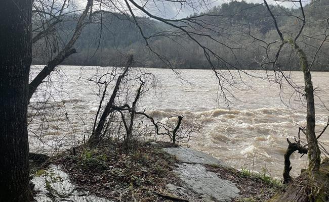 rain swollen river on the bmt