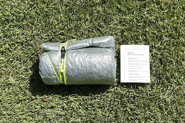 How tarp tent was shipped from manufacturer with instructions