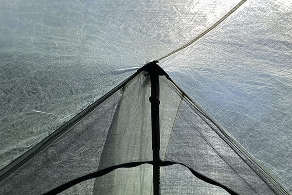 Peak for hiking pole outside the net but inside the shelter